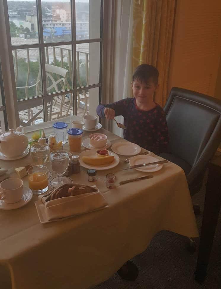 Room service, breakfast at the Ritz Carlton Hotel, Naples Florida