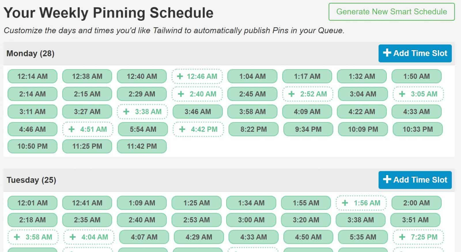 weekly schedule Tailwind