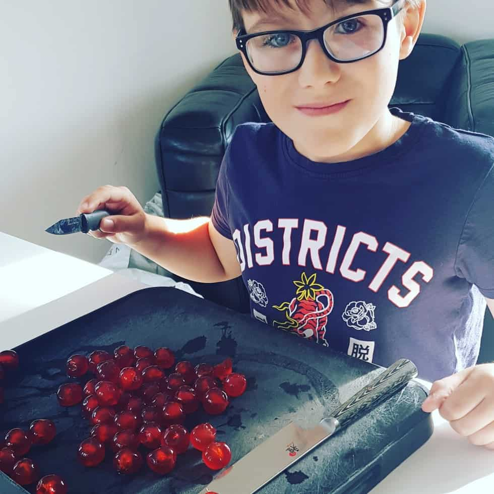Chopping the Cherries for the Mary Berry Christmas Cake Recipe