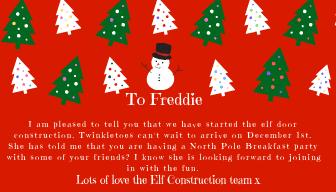 Letter from the elves explaining the elf door construction site